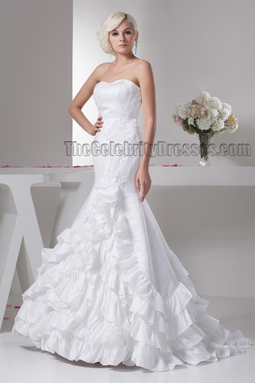 Gorgeous Sweetheart Strapless Ruffles Mermaid Wedding Dresses