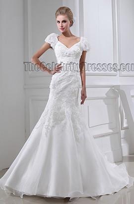 Gorgeous Trumpet /Mermaid Cap Sleeve Chapel Train Wedding Dresses