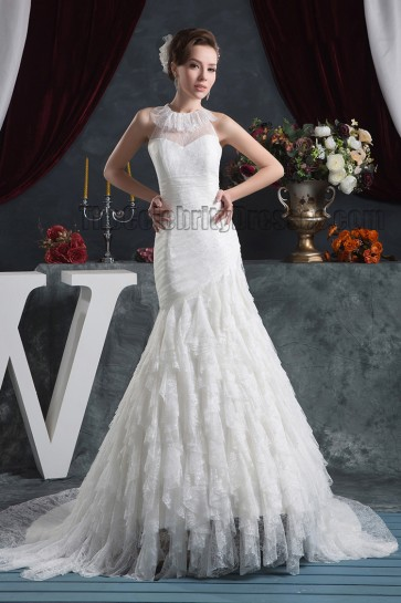 Gorgeous Trumpet/Mermaid Lace Chapel Train Wedding Dress