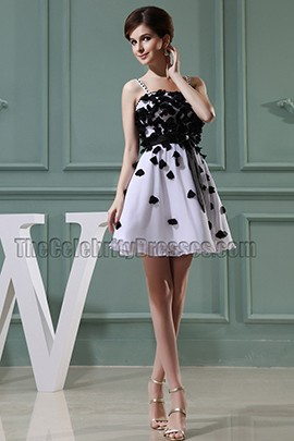 White And Black Cocktail Dress Party Homecoming Dresses