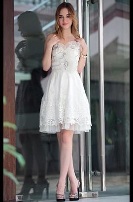 Gorgeous White Beaded Organza Cocktail Graduation Dresses