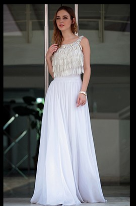 Gorgeous White Floor Length Tassel Prom Gown Evening Dresses