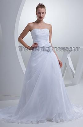Gorgeous White Strapless A-Line Lace Up Chapel Train Wedding Dress
