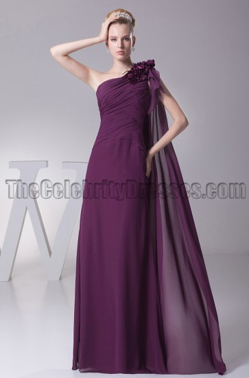 Grape One Shoulder Bridesmaid Prom Evening Dresses