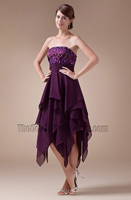 Grape Strapless A-Line Embroidery Cocktail Graduation Dresses