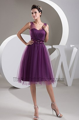 Grape Tulle A-Line Cocktail Homecoming Graduation Dresses