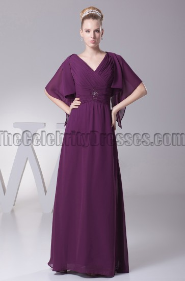 Grape V-Neck Chiffon Bridesmaid Prom Dresses