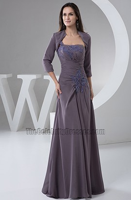 Gray One Shoulder Chiffon Embroidered Prom Dress