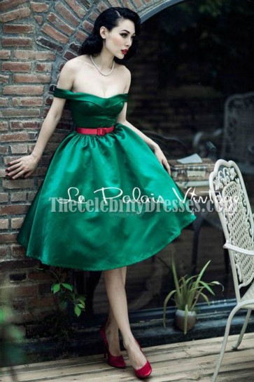 Green Off-the-Shoulder A-Line Cocktail Party Dresses TCD6126