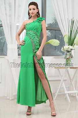 Green Beaded One Shoulder Prom Dress Evening Formal Gowns