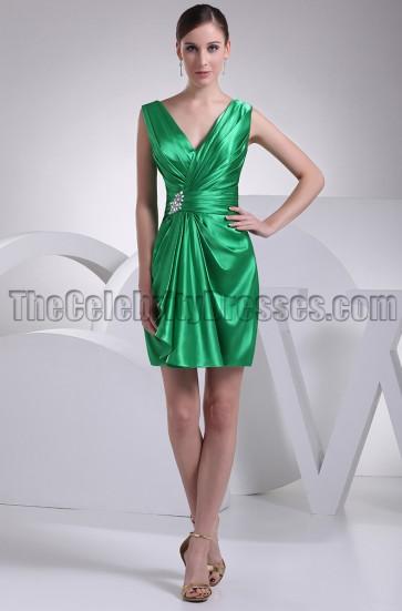 Green Short V-neck Party Homecoming Bridesmaid Dresses