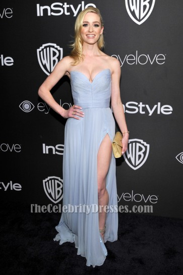 Greer Grammer Strapless Light Sky Blue Evening Dress 73rd Annual Golden Globe Awards Post-Party TCD7106