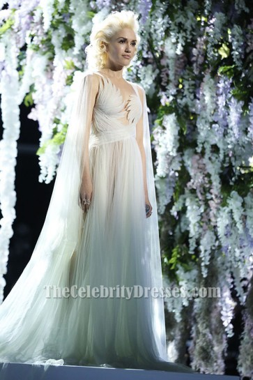 Gwen Stefani Ivory Tulle Evening Dress Bridal Gown The Voice TCD6446