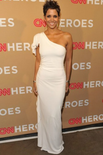 Halle Berry White One Shoulder Prom Gown Evening Dresses