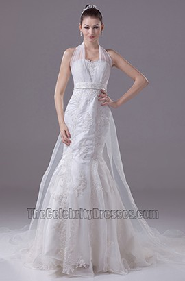 Halter A-Line Organza Embroidery Mermaid Wedding Dress