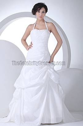 Halter A-Line Taffeta Chapel Train Wedding Dresses