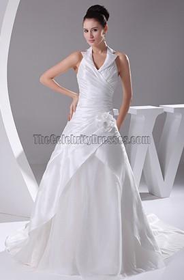 Chic Halter A-Line Taffeta Organza Wedding Dresses