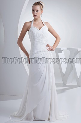Discount Halter Chiffon Chapel Train Wedding Dresses