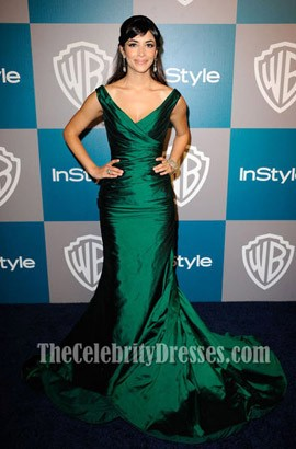 Hannah Simone Dark Green Formal Dress 69th Annual Golden Globes Red Carpet