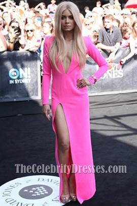 Havana Brown Sexy Deep V-Neck Hot Pink Prom Dress ARIA awards