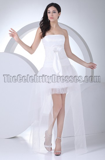 Chic High Low Strapless A-Line Wedding Dresses