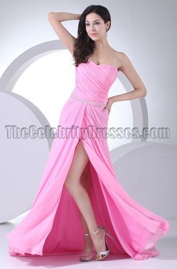 Hot Pink One Shoulder Beaded Prom Dresses Evening Gown