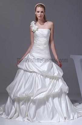 Ivory One Shoulder A-Line Bridal Gown Wedding Dress