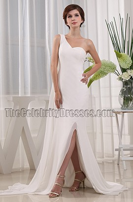 Ivory One Shoulder Prom Gown Evening Formal Dresses