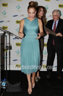 Jennifer Lopez Blue Chiffon Cocktail Dress Maribel Foundation 2011