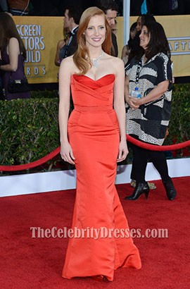 Jessica Chastain Red Prom Dress 2013 SAG Awards Red Carpet
