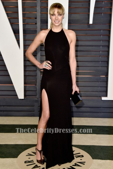 Jessica Hart Sexy Black Halter Evening Gown Vanity Fair Oscar Party 2015 TCD6432
