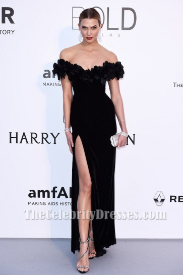 Karlie Kloss Black Off-the-Shoulder Formal Dress amfAR 2016 Celebrity Dresses TCD6830