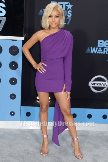 Karrueche Tran 2017 BET Awards Sexy Mini Purple Cocktail Party Dresses TCD7310