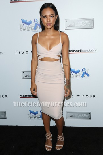 Karrueche Tran Cut Out Party Dress 9th Annual Celebrity Bowl for Charity TCD6357