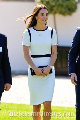 Kate Middleton Elegant Knee Length White And Black Cocktail Dresses TCDTB003