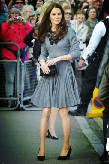 Kate Middleton Inspired Gray Short Party Cocktail Dress