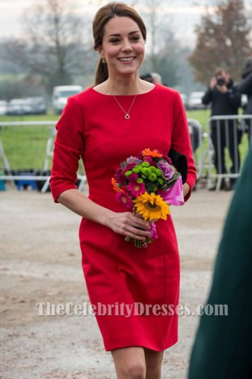 Kate Middleton's Elegant Red Short Party Cocktail Dresses TCDBF208