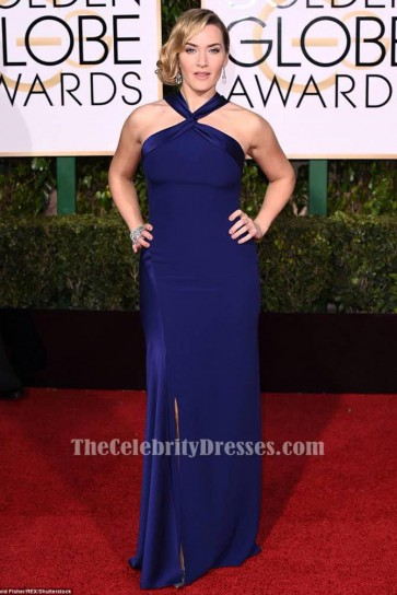 Kate Winslet Royal Blue Formal Dress 73th Golden Globes Awards 2016 Red Carpet Gown TCD6528