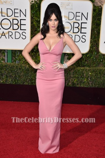 Katy Perry Pink Evening Gown Golden Globes Red Carpet Celebrity Dresses TCD6495