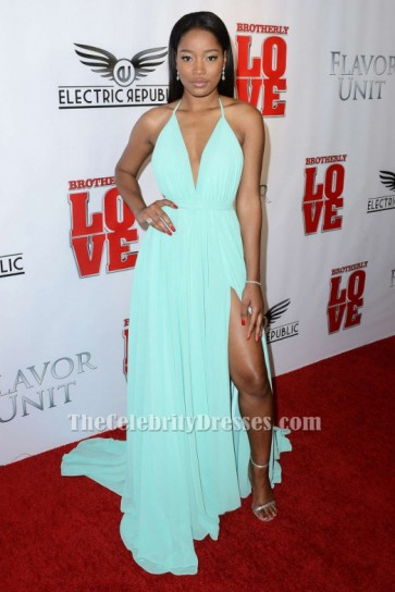 Keke Palmer Brotherly Love Premiere Mint Green High Slit Evening Dress TCD6239