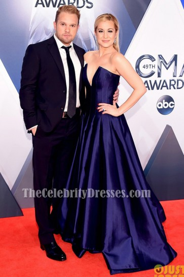 Kellie Pickler Dark Royal Blue Strapless Formal Dress 2015 CMA Red Carpet TCD6387