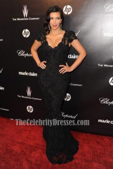 Kim Kardashian Black Lace Evening Dresses 2012 Golden Globes After Party For Sale