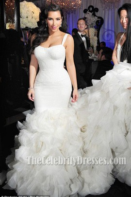 Kim Kardashian Ivory Mermaid Wedding Gown Bridal Dress Thecelebritydresses