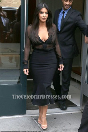 Kim Kardashian Sexy Black Long Sleeves Mermaid Cocktail Party Dress TCDTB6205