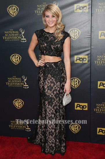 Kim Matula Black Lace Two Piece Formal Dress 2015 Daytime Emmys Red Carpet TCD6321