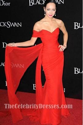 Ksenia Solo Red Chiffon Prom Dress New York Black Swan Premiere
