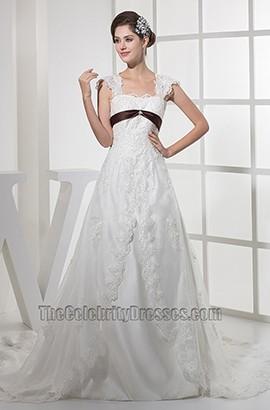 Lace A-Line Cap Sleeve Chapel Train Wedding Dress