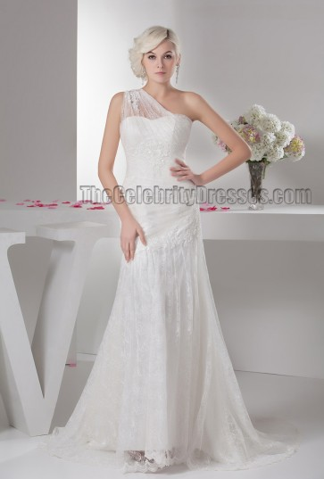Lace One Shoulder Beaded Sweep Brush Train Wedding Dresses