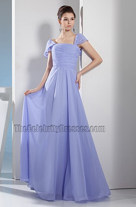Lavender Cap Sleeves Bridesmaid Prom Dresses Evening Gown