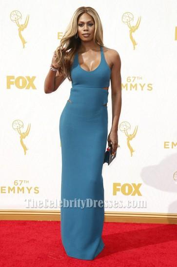 Laverne Cox Blue Backless Evening Dress 2015 Emmys Red Carpet TCD6318